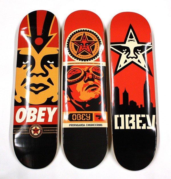 6190: Set of 3, Shepard Fairey ''Obey'' skateboards