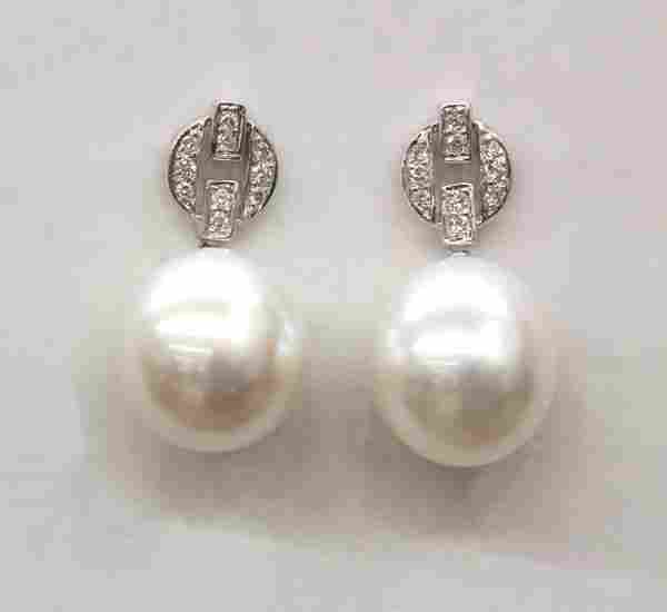 6560: South Sea cultured pearl diamond earrings
