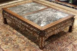 8037 Chinese MotherofPearl Marble Inlaid Low Table