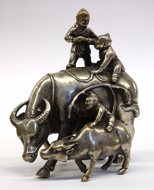 4007: Chinese Metal Figurine, Children and Ox