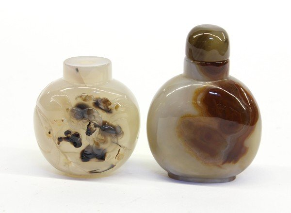 4018: Two Chinese Agate Snuff Bottles