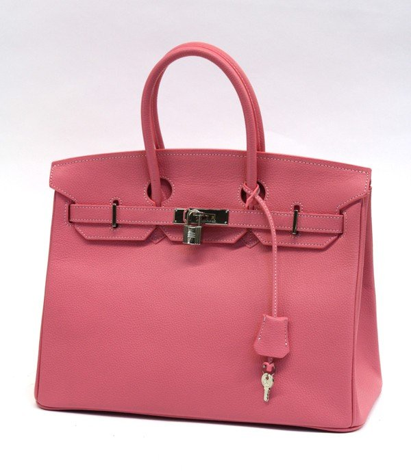 4124: Hermes style 35 cyclamen leather  Birkin bag