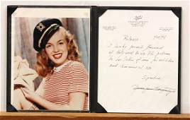 4419 Photograph Release Letter Marilyn Monroe Norma
