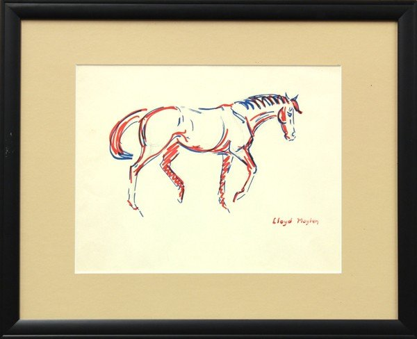 4686: Watercolors, Lloyd Moylan, Horse Studies - 4
