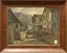 4743: Print, Max Merker, Village Scene
