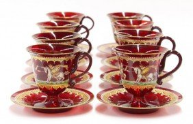 2004: Continental ruby glass chocolate service