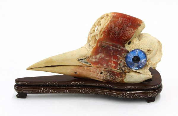 3062: Chinese Carved Hornbill Casque, late Qing/Republi