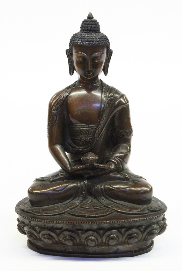 2: Asian Patinated Bronze Buddha Figure