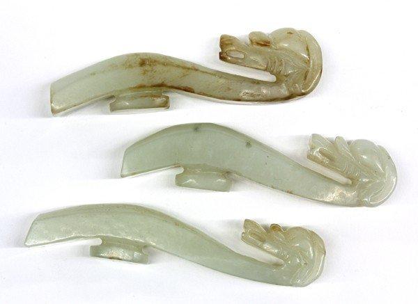 5: Three Chinese Jade Belt Hooks