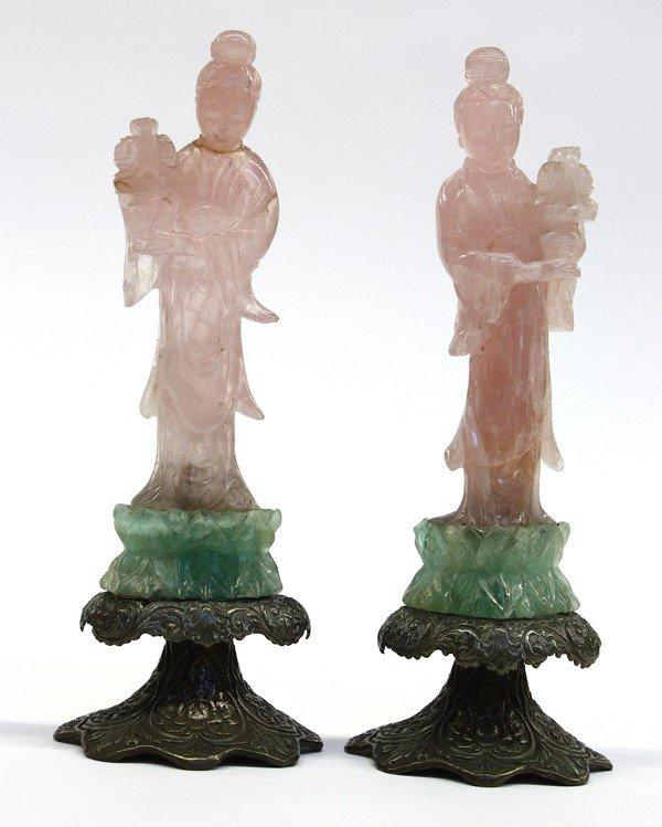 9: Pair Chinese Rose Quartz Figures, Beauties