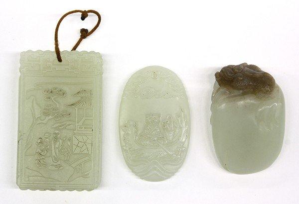 16: One Chinese Jade Handling Piece/Two Jade Pendants