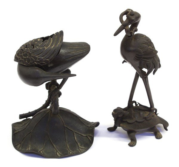 17: Two Asian Bronze Bird-Form Decorations