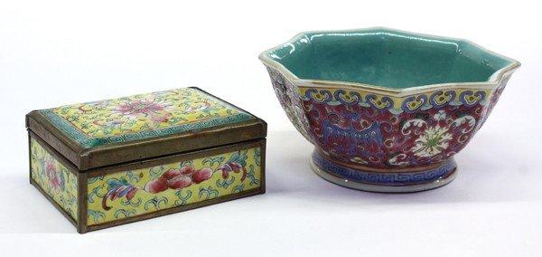 19: Chinese Enameled Porcelain Box and Dish