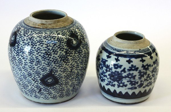 23: Two Chinese Blue-and-White Jars,Late Qing/Republic