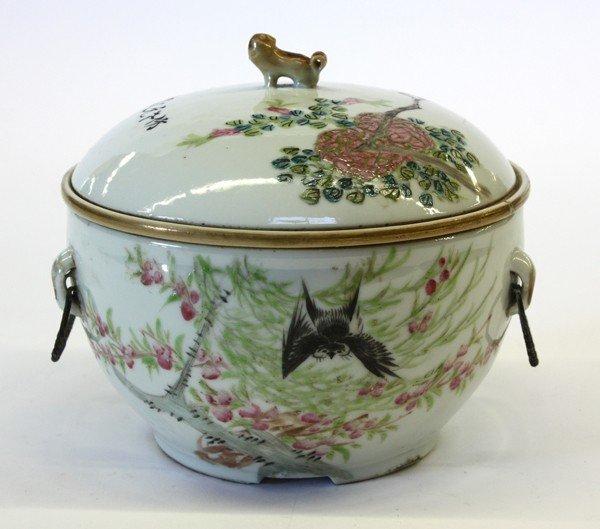 24: Chinese Enameled Warming Dish, Bird/Flower