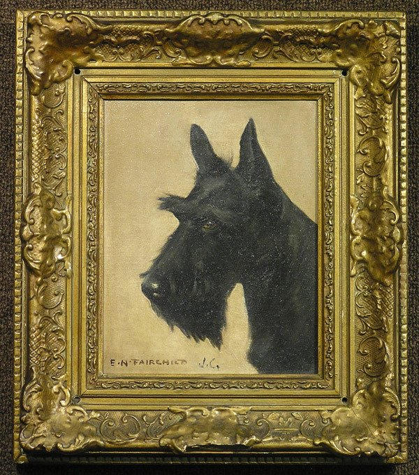 6017: Oil/canvas, Elizabeth N. Fairchild, dog