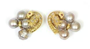 6484: Tahitian pearl ruby diamond yellow gold earclips