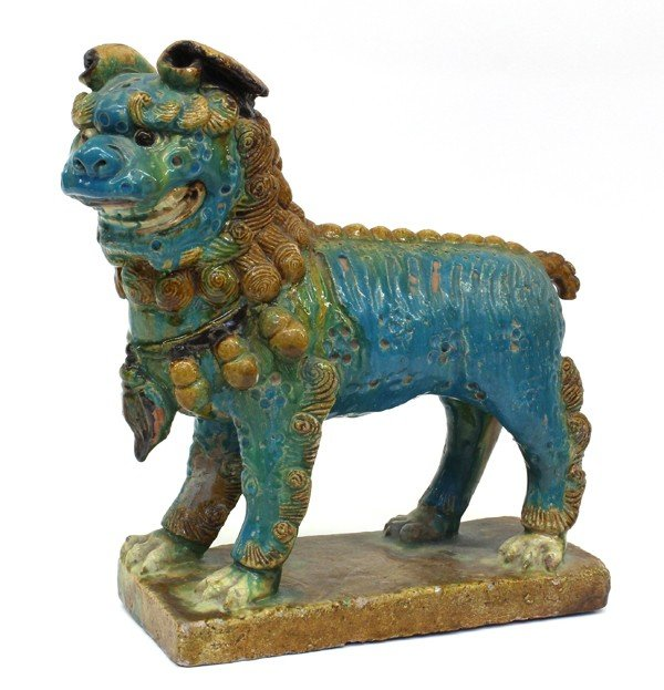 4001: Chinese Large Lead Glazed Fu-Lion Figure