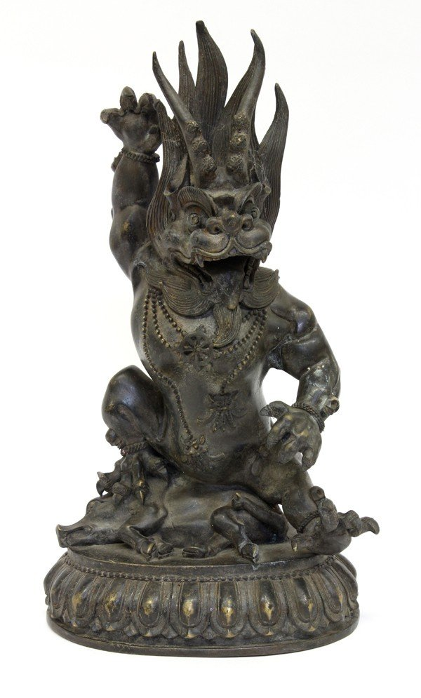 4007: Chinese Patinated Metal Figure, Mythical Beast