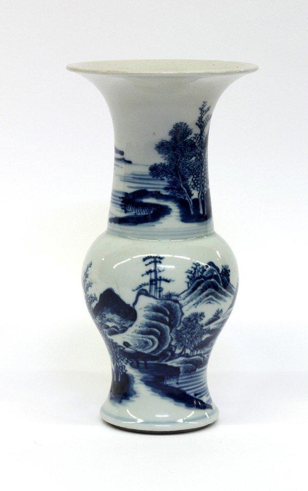 4016: Chinese Blue-and-White Small Beaker Vase