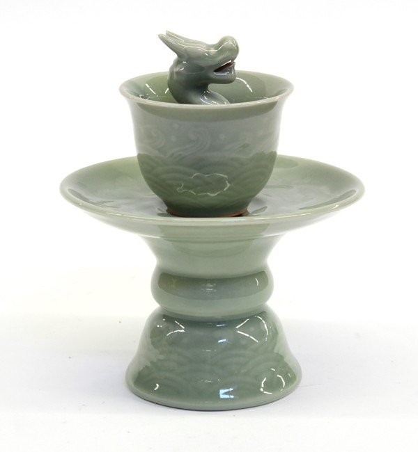 4018: Chinese Celadon Glazed Porcelain Puzzle Cup/Stand
