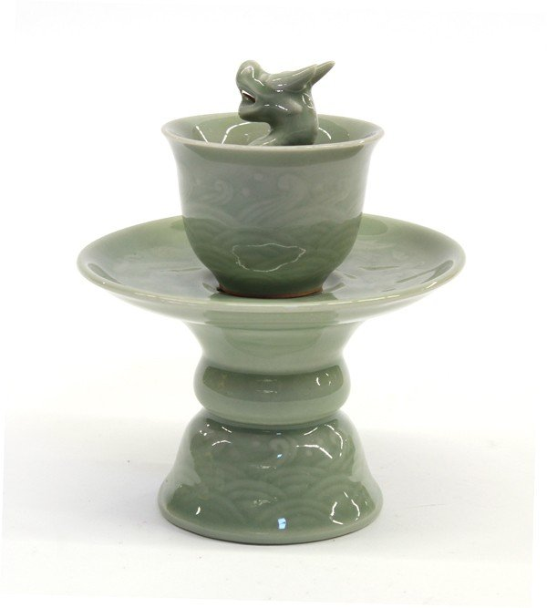 4018: Chinese Celadon Glazed Porcelain Puzzle Cup/Stand - 2