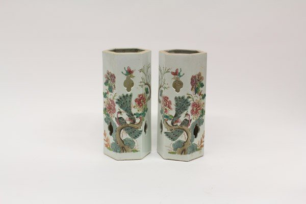 4022: Pair Chinese Enameled Porcelain Hat Stands