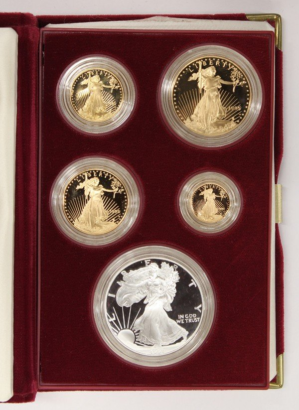 4425: 1995 five piece gold and silver American Eagle se