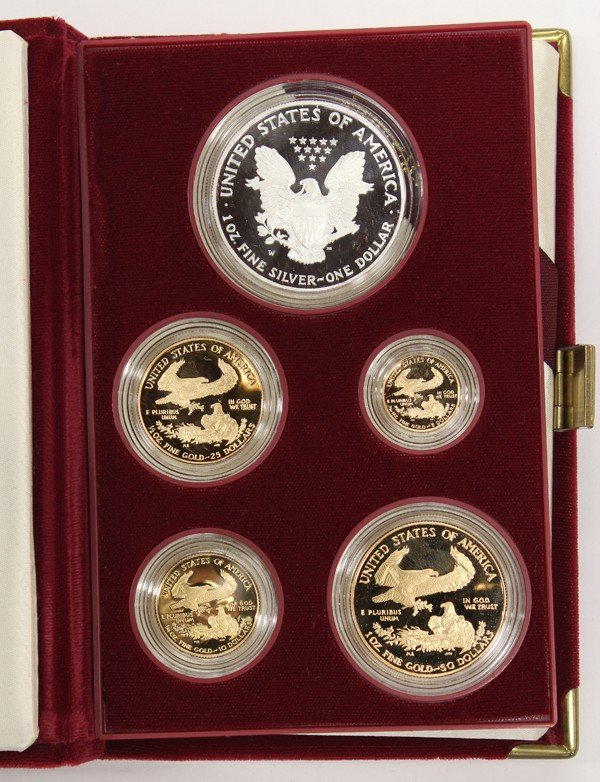 4425: 1995 five piece gold and silver American Eagle se - 2