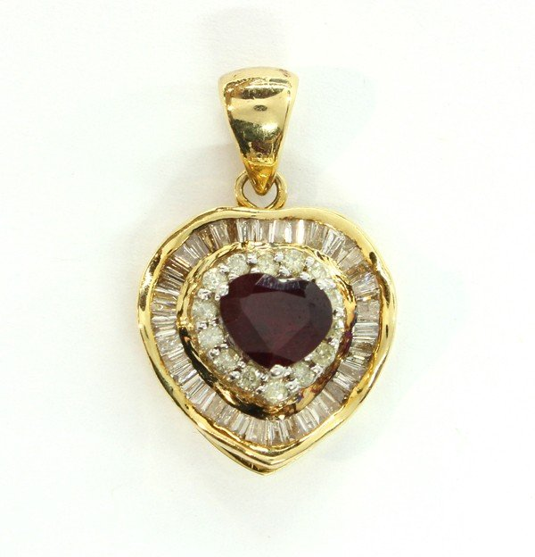 4469: Ruby diamond ''Heart'' pendant yellow gold