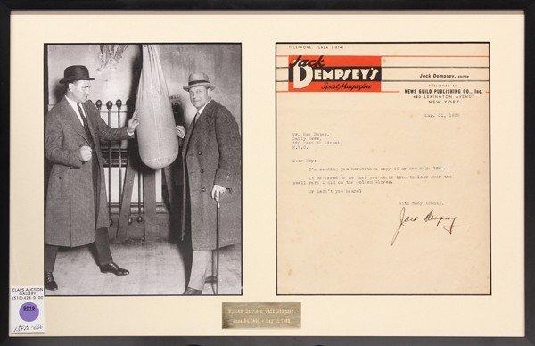 9019: Jack dempsey signed letter