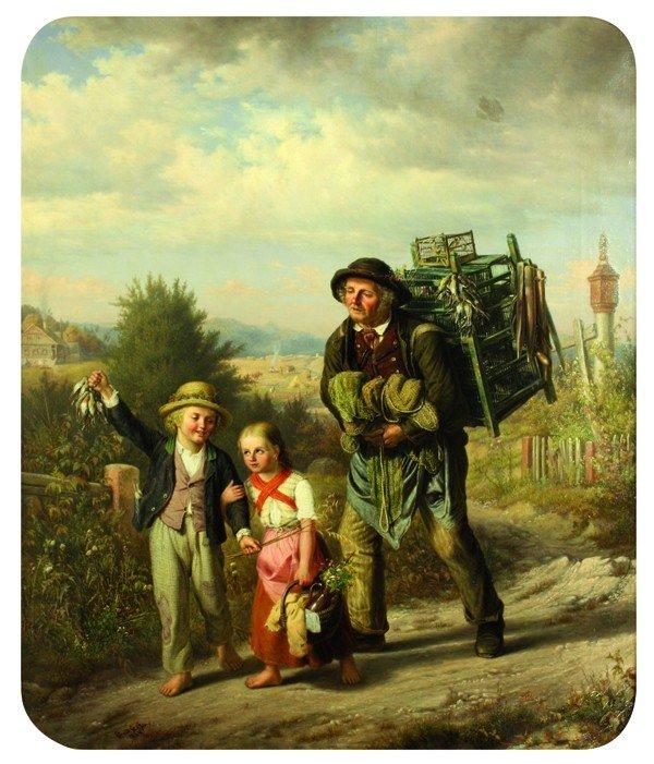 2113: Painting, Edouard Steffen, Bird Seller