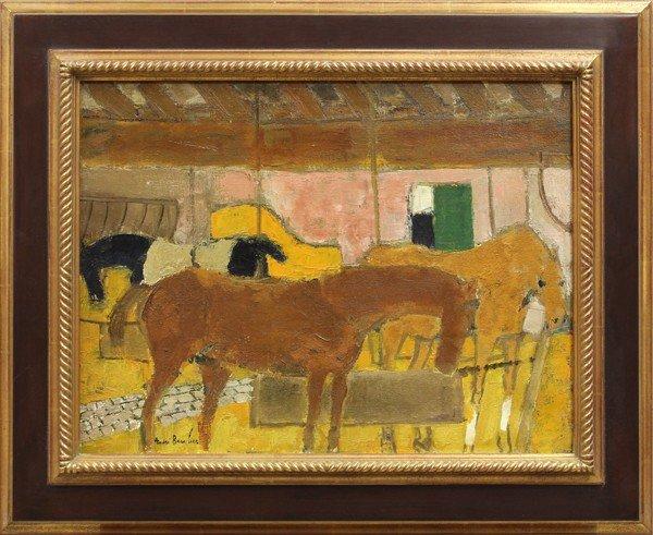 2115: Painting, Andre Brasilier, Interieur d'une Ecurie