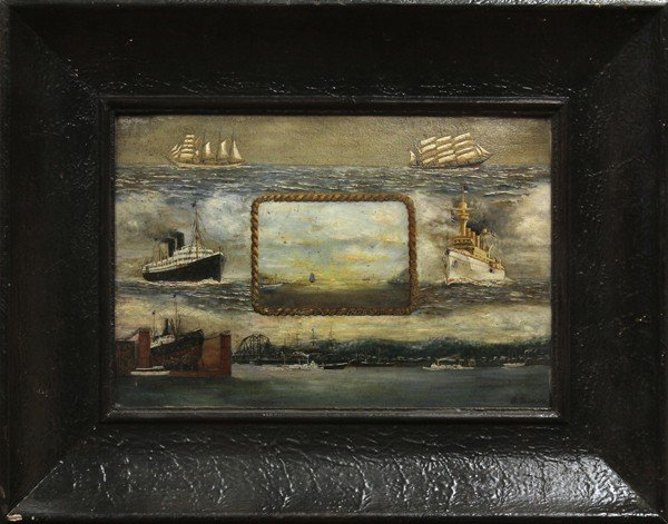 2129: Painting, Ships, German School, 19th century
