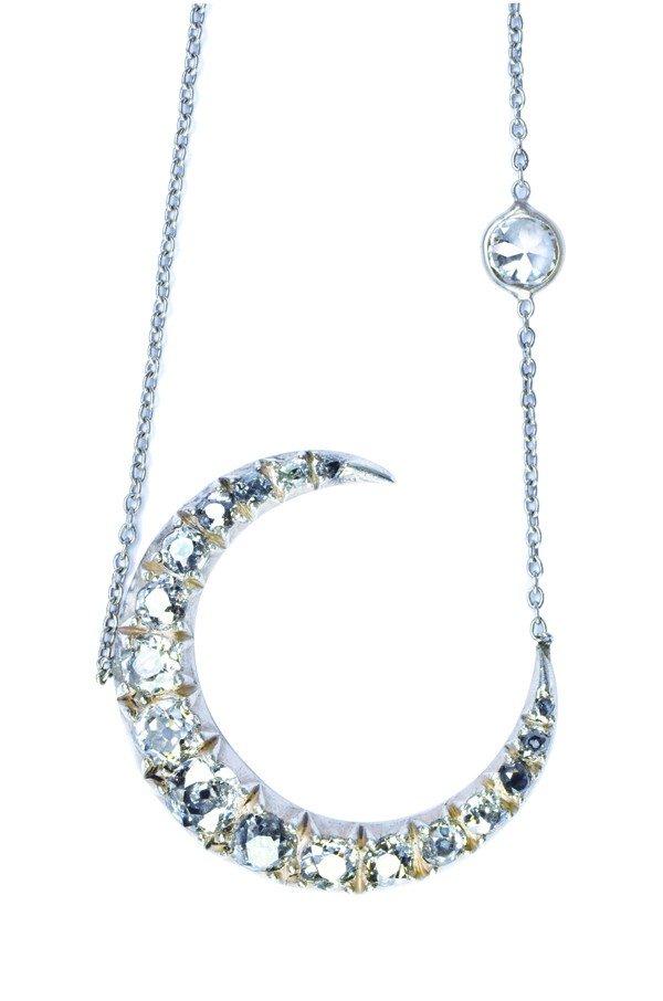 2401: Diamond ''Crescent Moon & Star'' pendant