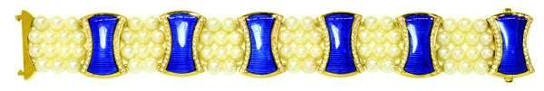 2427: Cultured pearl, diamond and blue enamel bracelet