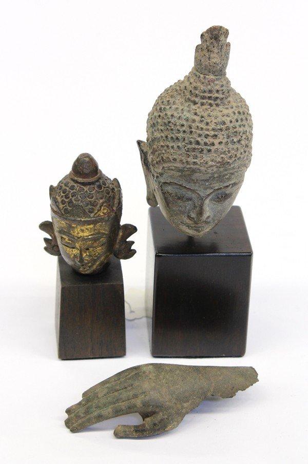 2: Thai Bronze Buddha Heads/Hand