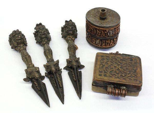 3: Three Himalayan Purbu/Amulet/Prayer Wheel