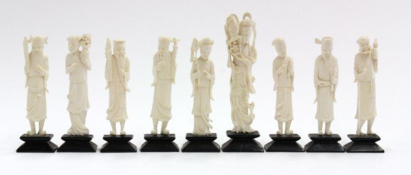 6: Nine Chinese Ivory Figurines, Immortals