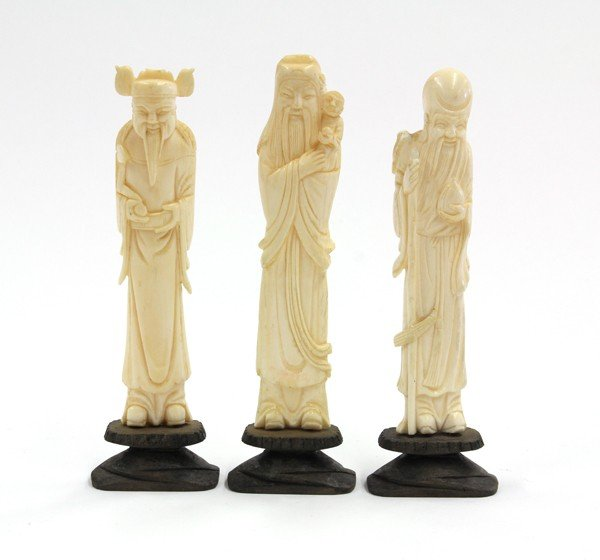 11: Three Chinese Ivory Figural Carvings