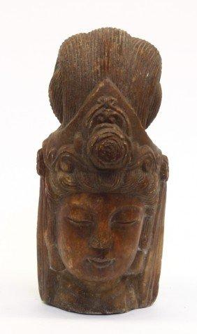 Chinese Stone Head Of A Bodhisattva