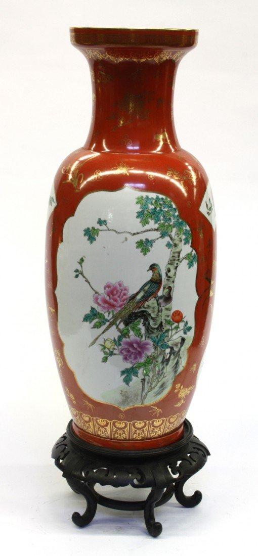 99: Chinese Large Enameled Coral Ground Vase
