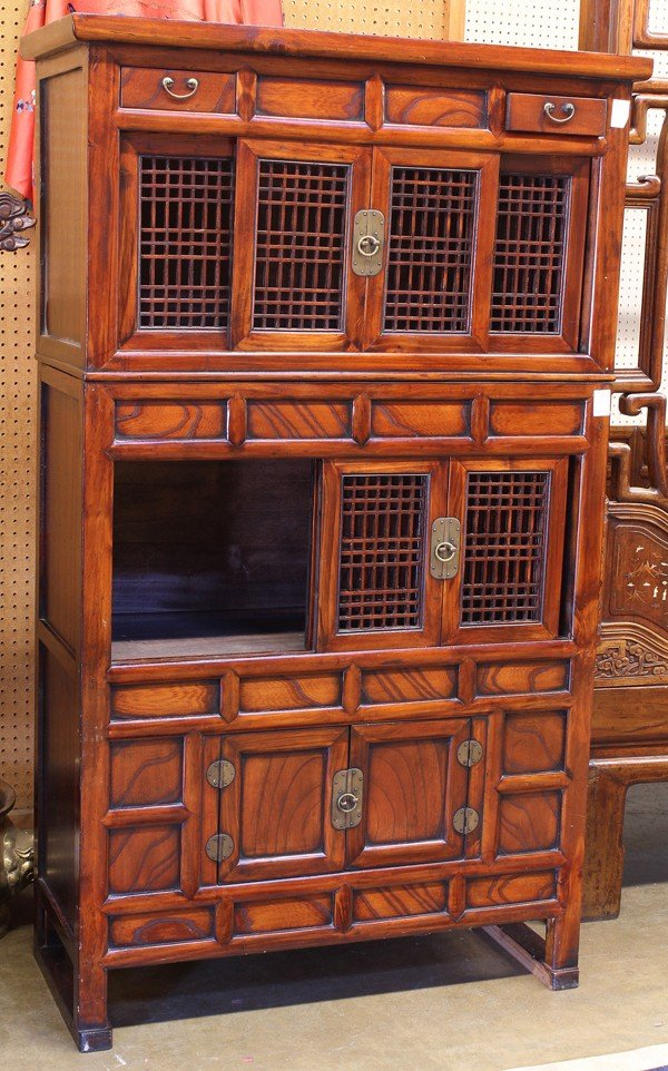 104: Korean Stained Wood Cabinet