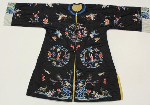 110: Chinese Black Ground Woman's Robe