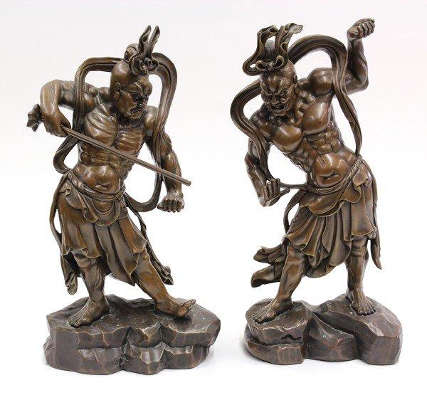 112A: Pair Japanese Patinated Bronze Guardian Figures