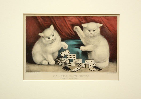 542: Lithographs, Currier Ives, Cats, Crown of Thorns
