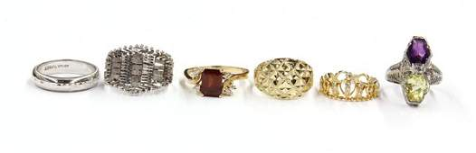 616 Collection of six gold rings