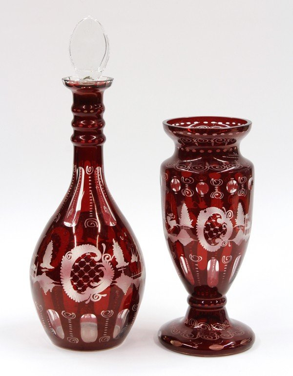 6000: Etched cranberry glass vase and decanter