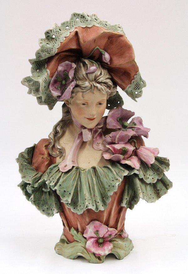 6018: Royal Dux earthenware bust