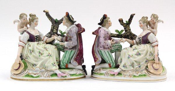 6019: Continental porcelain figural groups